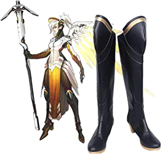 Mercy Angela Ziegler Cosplay Shoes Hot Game Boots PU Leather Costume Footwear