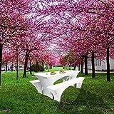 Weddecor Hussen für Biertisch und Bank, weiß, dehnbar, elastisch, Spandex, für Bar, Restaurant, Zuhause, Garten, Esszimmer, Drapieren, 3er-Set - 6