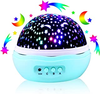 Star Moon Projector, 360 Degree Rotational LED Night Light with 8 Light Modes