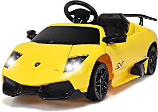 Costzon Kids Ride On Car, Licensed Lamborghini 12V Battery Powered Vehicle w/ Remote Control LED Lights Sounds Music (Yellow)