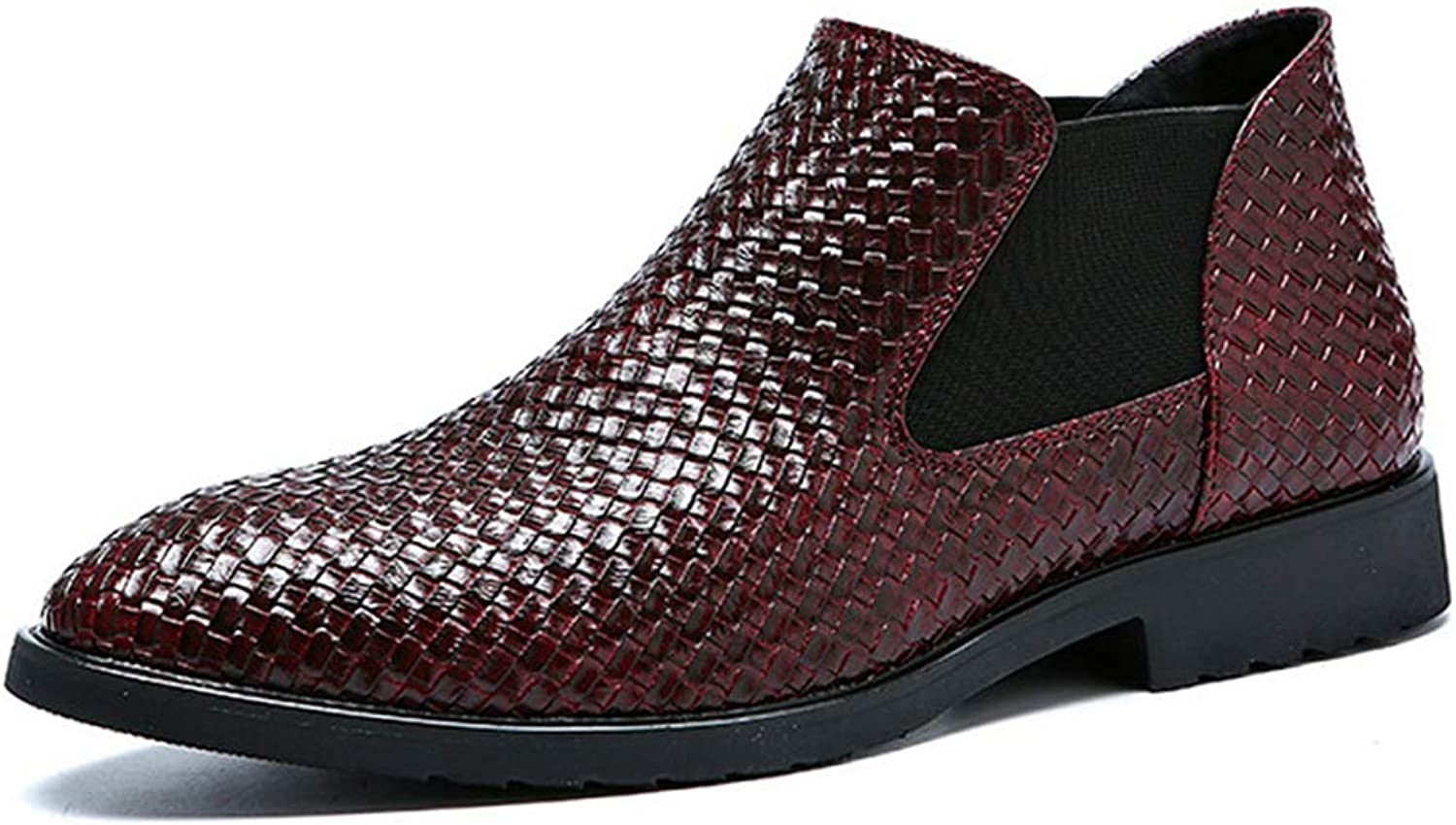 Mens Dress shoes Low Cut Pattern Leather Boot Formal Slip-on Business shoes