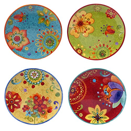 "Certified International 22451SET/4 Tunisian Sunset Salad/Dessert Plates (Set of 4), 8.75"", Multicolor"