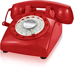 ECVISION 1960's Style Rotary Retro Old Fashioned Dial Home Telephone with Red Color photo