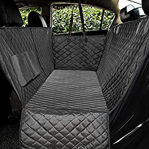 "Honest Luxury Quilted Dog Car Seat Covers with Side Flap Pet Backseat Cover for Cars, Trucks, and Suv's – Waterproof & Nonslip Diamond Pattern Dog Seat Cover Black Large (57""Wx60""L)"
