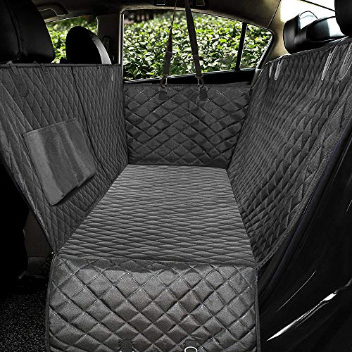 Honest Luxury Quilted Dog Car Seat Covers with Side Flap Pet Backseat Cover for Cars, Trucks, and Suv's - Waterproof & Nonslip Diamond Pattern Dog Seat Cover Black Large (57''Wx60''L) - 50% Covers customers It Keep Seat V4