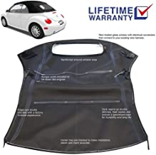 AutoBerry Compatible With Volkswagen Beetle Convertible Top & Heated Glass Window For Power Tops 2003-2009 Black Canvas Cloth