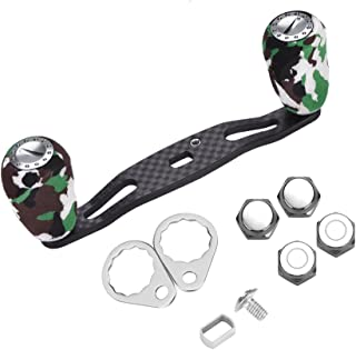 Tbest DEUKIO 95mm Fishing Reel Handle Knob Carbon Fiber Frame with Fittings Replacement Parts (Green)