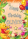 Chicbanners PERSONALISED WINNIE THE POOH V1 BIRTHDAY BANNER POSTER Custom Design Large A0 Size 1189mm x 841mm (47 inches x 33 inches / 118.9cm x 84.1cm) ANY AGE PLUS TEXT CAN BE ADDED