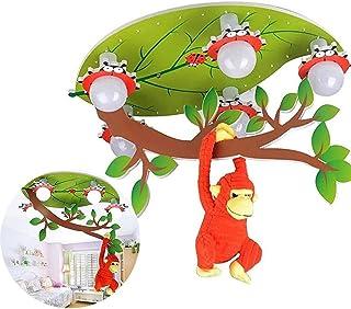 Lamparas de Techo Infantil Dormitorio, LED Lámpara Colgante del Accesorio Mono Creativo de Dibujos Animados Lámparas de Araña con Control Remoto (Color : Red)