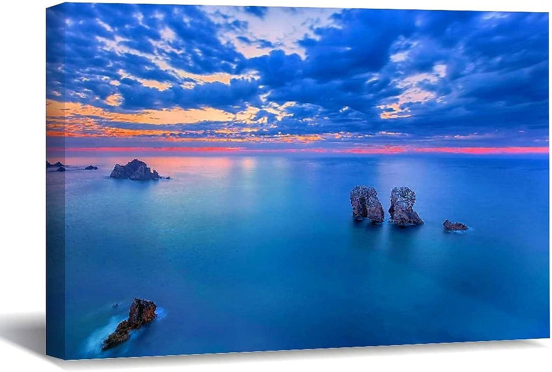 Choice VinMea Canvas Wall Art Framed Blue Infinite Sea Calmness Horizon Memphis Mall