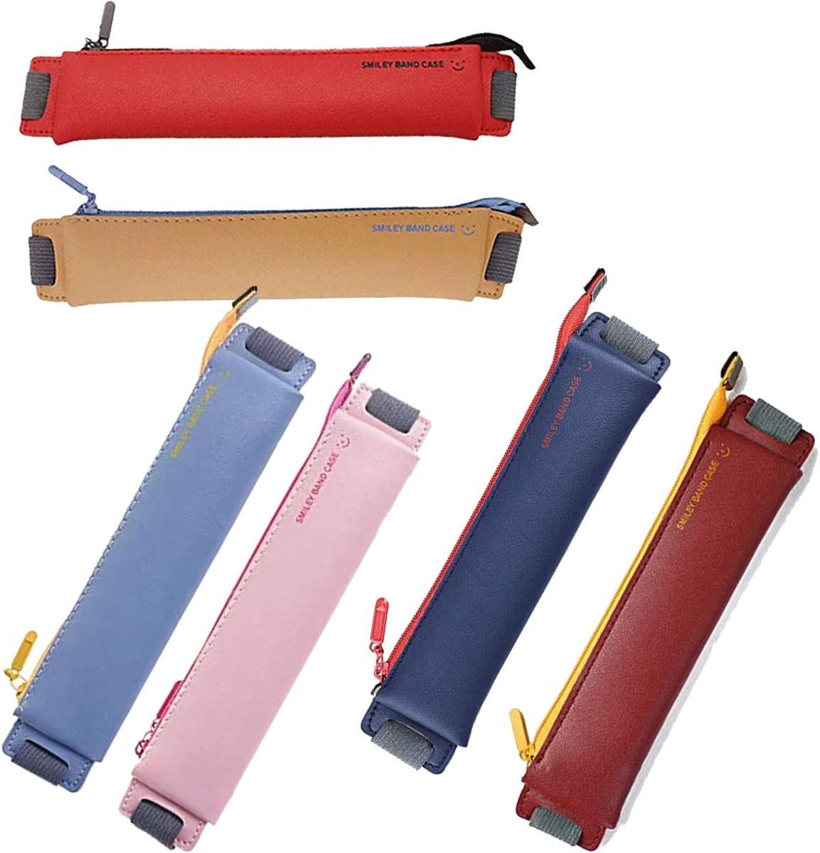 Fanbay 6-Pack PU New New sales popularity Leather Pen Pencil Pouch Sleeve with Holder Ela