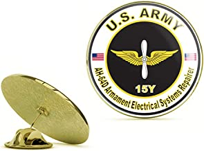 HOF Trading Gold U.S. Army MOS 15Y AH-64-D Armament Electrical Systems Repairer Gold Lapel Pin Tie Suit Shirt Pinback