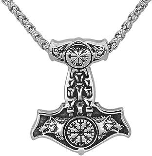 GuoShuang Nordic Viking Stainless Steel Thor Mjolnir Odin Wolf Vegvisir Pendant Necklace with Valknut Gift Bag
