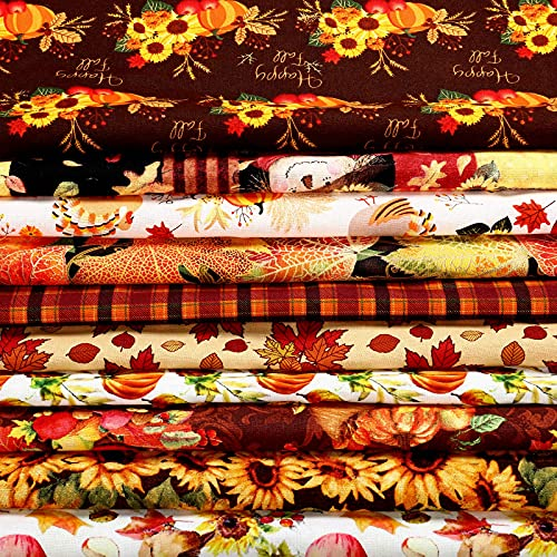 10 Pieces Fall Cotton Fabrics 19.7 x 19.7 Inch Thanksgiving Fat Quarter Bundles Pumpkin Fabric Squares Autumn Turkey Maple Plaid Patchwork Thanksgiving Patterns for DIY Crafts Quilting Sewing Supplies