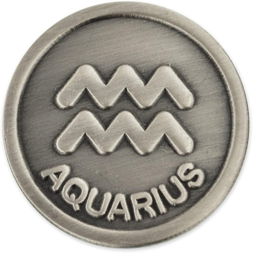 PinMart Antique Silver Aquarius Zodiac Symbol Bearer Lapel Water Inventory cleanup selling sale Special sale item
