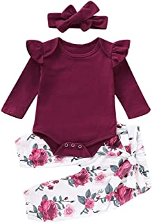 Newborn Baby Girl Clothes Ruffle Romper Long Sleeve Bodysuit Bowknot Floral Pants with Headband 3Pcs Infant Girl Outfits Set