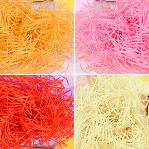 Keleily Geschreddertes Papier 8 Pack Füllmaterial aus Papier Ostergras Osternest für Geschenkverpackungen, Dekorationskorbfüllung, Korbfüllung, Rot, Rosa, Gelb, Beige, 160G