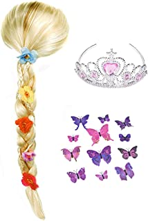 Princess Rapunzel Braids Wig Tiara and Butterfly Pin Set Costume for Little Girls Long Hair Dress up