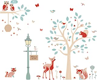 ufengke Forest Animals Wall Stickers Tree Deer Wall Art Decals Wall Decor for Kids Bedroom Nursery Living Room