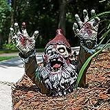 HJXX Zombie Gnombie Statue-Walking Dead Zombie GNOME Stehen und Krabbeln auf Bauch, Gruselige Zwerg Zombie Statue Dekoration