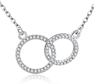 Mother Daughter Necklace/Friendship Necklace Sterling Silver with Luminous Cubic Zirconia, Mothers Day Gifts Set, Friendship Gifts for Women,Best Friend Necklace