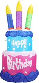 WONDER GARDEN 4 FT Happy Birthday Inflatable Decoration Birthday Cake with Four Candles Party Decoration for Outdoor Indoo...