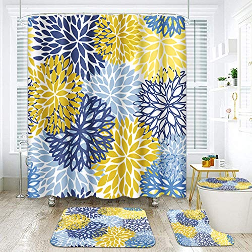 "ArtSocket 4 Pcs Shower Curtain Set Spring Floral Blue Yellow Navy Flowers Green Abstract Grey Plant Aster Leaf Nature with Non-Slip Rugs Toilet Lid Cover and Bath Mat Bathroom Decor Set 72"" x 72"""