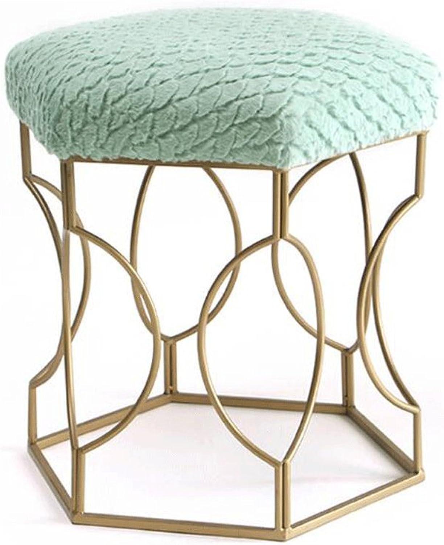 TXXM Barstools Plush golden Stool Legs Stool Metal Fashion Makeup Stool Dressing Stool Dining Chair Tea Table Stool (color   Green)