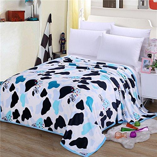 Manta de franela de alta densidad super suave franela manta para el sofá/cama/coche portátil Plaids manta/manta de viaje/oficina del almuerzo, poliéster, Crazy cow, 150X200 package about 2 pounds