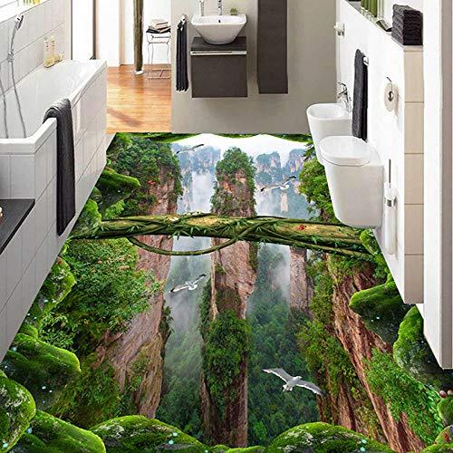 Papel De Pared Fotográfico Personalizado 3D Estéreo Bosques Valles Picos Azulejos Murales Pegatina Sala De Estar Baño Pvc Papel Pintado Impermeable,350 * 256Cm