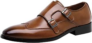 Santimon Chaussures à Boucle de Ville Homme Cuir Double Monk Strap À Enfiler Loafers Affaires Mariage Habillées Derby Noir...