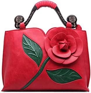 Trendy Ladies Classical Rose Big Flower Tote Ethnic Wind Tote Retro Dinner Tote Zgywmz (Color : Red, Size : 35 * 12 * 25cm)