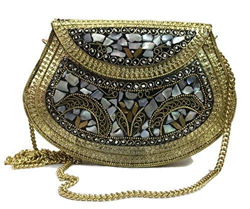 Clutch Vintage Handmade Metal Mosaic stone Shell bolso bolso de la honda para las mujeres del bolso del partido accesorios de la ocasión especial