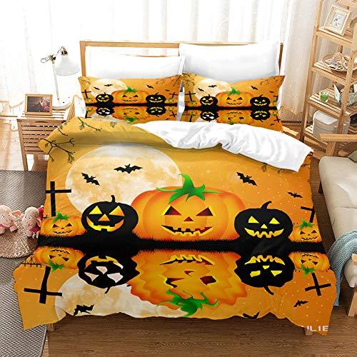 KONGLZG Single Duvet Covers Set, Halloween Pumpkin ,3D HD Printed with Zipper Closure Microfiber Soft Bedding Set for Kids Adult Room-135x200cm