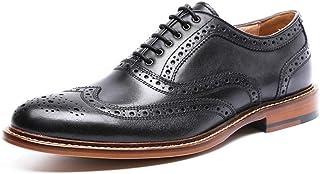 Kirabon Zapatos de Hombre tallados Huecos Retro Zapatos Casuales Zapatos de Cuero (Color : Negro, Size : 43)