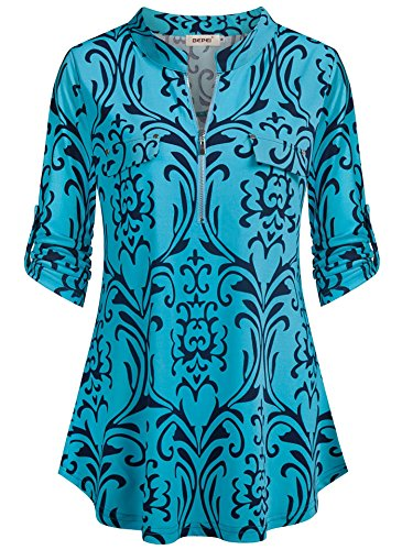 BEPEI Tunic Shirts for Women,Summer Cuffed Short Sleeve Collarless V Neck Top Floral Hawaiian Blouses Misses Chiffon Designer Pretty Lovely Shirt for Vacation Holiday Turquoise L