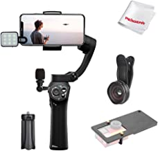 Snoppa Atom 3 Axis Foldable Gimbal for Smartphone & GoPro Hero 4 5 6, 310g Payload, Wireless Charging, Built-in Mic Jack, One-Key Switch V/H Orientation, Rich Accessory & Pergear Cloth, Mystery Black