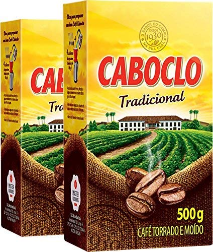 Cafe Caboclo 500g Torrado e Moído - Roast and Ground Coffee 17.60oz (PACK OF 02)