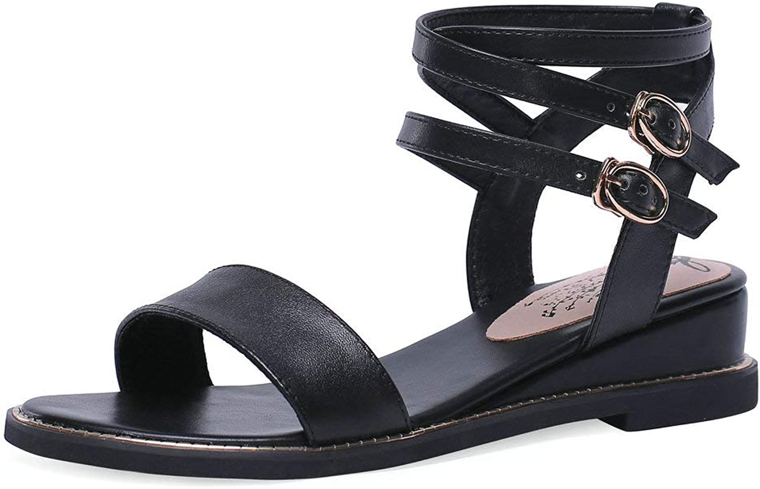 AnMengXinLing Wedge Sandals Women Low Heel Crisscross Ankle Strap Comfort Summer Flat shoes Fashion Strappy Open Toe Genuine Leather Slingback Sandals