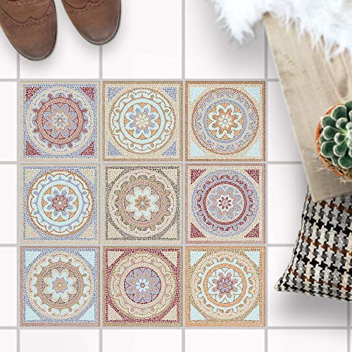 Fliesenaufkleber für - [ Boden Fliesen ] - Sticker Aufkleber Folie für Bodenfliesen - Bad oder Küche I Fliesensticker als Alternative zu Fliesenlack I 10x10 cm - Design Mosaik Afrika