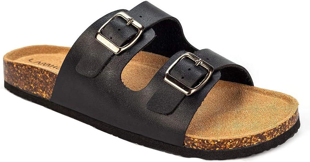 Women's Two Strap Adjustable Buckled Slip on Comfort Flats Slides Sandals
