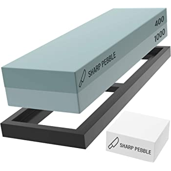Sharp Pebble Premium Whetstone Sharpening Stone 2 Side Grit 400/1000-Whetstone Knife Sharpener with Flattening Stone & NonSlip Rubber Base