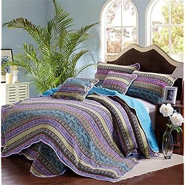 Blue Striped Classical Cotton 3 Piece Patchwork Bedspread Quilt Sets,Queen