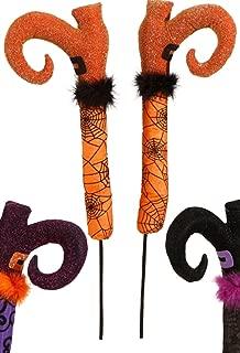 Raz Imports Halloween Decor - Pair of Posable Witches (Orange Legs)