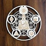 ZenVizion 5.31' Elemental Buddha Wall Decor Flower of Life 5 Elements, Sacred Geometry Wall Art Yoga Decor, Crystal Grid, Wooden Art Symbol, Meditation Decor, Spiritual Decor, Car Hanger
