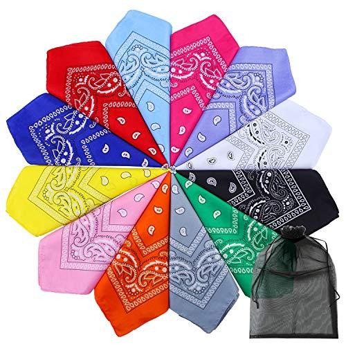 URATOT 12 Pack Novelty Bandanas Paisley Print Cowboy Bandana Handkerchiefs, Assorted 12 Colors