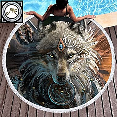Sleepwish Wolf Warrior by SunimaArt Wolf Beach Towel Men Beach Throw Round Beach Towels Oversized Beach Roundies (Tribal Wolf, 60 )