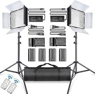 SAMTIAN LED Video Light 600 LED Camera Studio Light Kit CRI95 3200K 5600K Camcorder Light Kit with Barndoors 75 Inches Light Stand Batteries and Remote Camera Photo Light for Studio Photography, Video