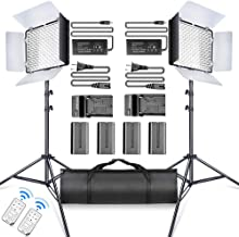 SAMTIAN LED Video Light 600 LED Camera Studio Light Kit CRI95 3200K 5600K Camcorder Light Kit with Barndoors 75 Inches Light Stand Batteries and Remote Camera Photo Light for Studio Photography, Video