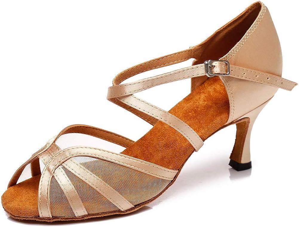 SWDZM Women's Latin Dance Shoes Peep-Toe Salsa Chacha Ballroom Performance Practice Dance Shoes